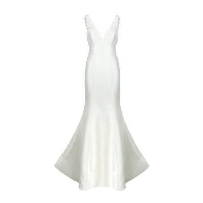 low v-neck trumpet dress white